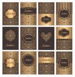 Gouden Vector Geplaatste Uitnodigingen royalty-vrije illustratie