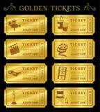Gouden Vectorbioskoopkaartjes Stock Foto