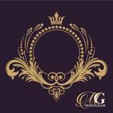 Gouden vectormonogram Bloeit kalligrafische elegante uitstekende elementen Het verleden vector illustratie