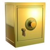 Gouden veilig pictogram Royalty-vrije Stock Foto's