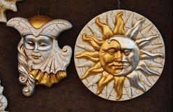 Gouden Venetiaanse maskers Royalty-vrije Stock Foto's
