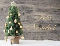 Gouden Verfraaide Boom, Feliz Navidad Means Merry Christmas stock afbeeldingen