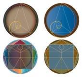 Gouden verhouding abstracte pictogrammen stock illustratie