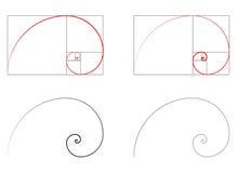 Gouden verhouding spiraalvormige sectiereeks vector illustratie