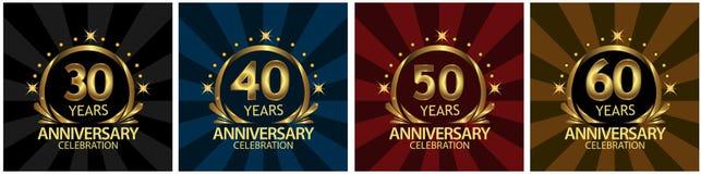 Gouden verjaardag het ontwerp van het verjaardagsmalplaatje voor Web, spel, Creatieve affiche, boekje, pamflet, vlieger, tijdschr royalty-vrije illustratie