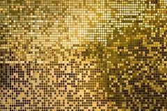 Gouden Mozaiek Tegels : Gouden vierkante mozaïektegels voor textuurachtergrond stock foto