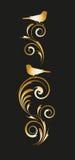 Gouden vignet met abstract bloemenornament Stock Foto