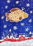 Gouden Vissen in de sterrige hemel stock illustratie