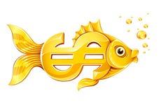 Gouden vissen in vorm van het teken van de dollarmunt Royalty-vrije Stock Afbeelding