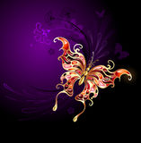 Gouden vlinder op een purpere achtergrond stock illustratie