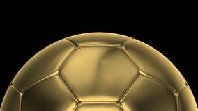 Gouden voetbalballen die op de assen 360 graad roteren stock video