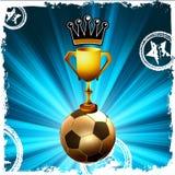 Gouden voetbaltrofee en kroon, achter flits EPS8 stock illustratie