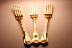 Gouden vorken Stock Foto
