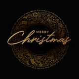 Gouden Vrolijk de Kaartontwerp van de Kerstmisgroet Royalty-vrije Stock Foto