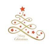Gouden Vrolijke verwoording met Kerstboom en sterren, lijnart. Royalty-vrije Stock Fotografie