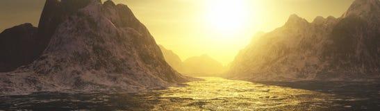 Gouden wateren en bergenlandschap vector illustratie