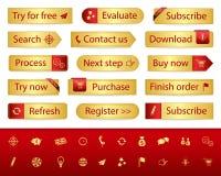 Gouden Webknopen met verschillend referenties en pictogram Royalty-vrije Stock Foto's