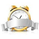 Gouden wekker met zilveren witte banner - Verkoop Royalty-vrije Stock Fotografie