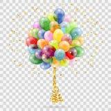 Gouden Wimpel, Ballons en Confettien royalty-vrije stock afbeeldingen
