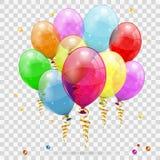 Gouden Wimpel, Ballons en Confettien royalty-vrije stock afbeelding