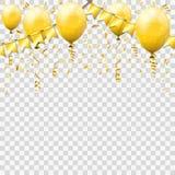 Gouden Wimpel en Confettien stock afbeelding