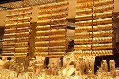 Gouden Winkels - Grote bazaarwinkels in Istanboel Stock Afbeeldingen