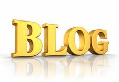 Gouden Word Blog Stock Foto's