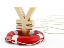 Gouden Yensymbool op lifebelt 3D Illustratie vector illustratie