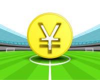 Gouden Yuansmuntstuk in het middenveld van de vector van het voetbalstadion Stock Afbeeldingen