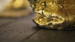 Gouden zak - detail van een gouden beurs - textuur en patroon, stock video