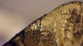 Gouden zak - detail van een gouden beurs - textuur en patroon, stock videobeelden