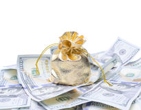 Gouden zak en dollars Royalty-vrije Stock Afbeeldingen
