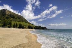 Gouden zand op het Strand van MT Maunganui, Baai van Overvloed, het Noordeneiland, Nieuw Zeeland Stock Afbeeldingen