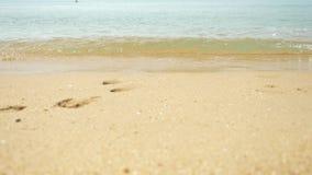 Gouden zand, wit overzees schuim en blauwe hemel met een strand en tropische overzeese golfbeweging, de zomertijd voor rust en stock video