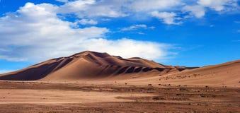 Gouden zandduin 7 en witte wolken op een zonnige dag royalty-vrije stock fotografie
