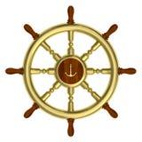 Gouden zeevaart geïsoleerd wiel Stock Foto