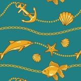 Gouden zeevaartpatroon stock illustratie