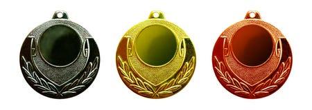 Gouden zilver en bronsmedailles royalty-vrije stock foto