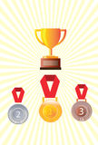 Gouden zilver en bronsmedailles, medaillekenteken Royalty-vrije Stock Fotografie