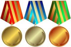 Gouden, zilverachtige en bronsmedailles Royalty-vrije Stock Foto's