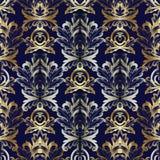 Gouden zilveren barok naadloos patroon Royalty-vrije Stock Fotografie