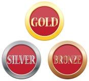 Gouden Zilveren Bronspictogrammen Stock Foto