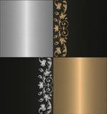 Gouden zilveren eind zwarte achtergrond Stock Foto's