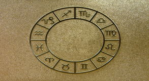 Gouden zodiacal tekens royalty-vrije stock foto's