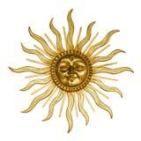Gouden zon met gezicht Stock Foto