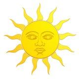 Gouden zon met gezicht 3d Royalty-vrije Stock Afbeeldingen