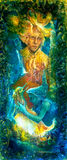 Gouden zongod en blauwe watergodin, fantasie verbeelding het gedetailleerde kleurrijke schilderen, met vogels en fluitmuziek Royalty-vrije Stock Afbeelding