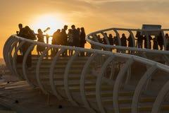 Gouden zonsondergang in Sevilla bovenop een paddestoel royalty-vrije stock afbeeldingen