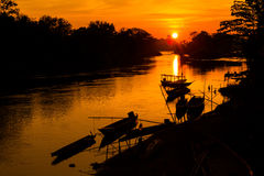 Gouden zonsopgang op Don Det Stock Foto