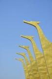Gouden zwaan vijf op dak Stock Fotografie
